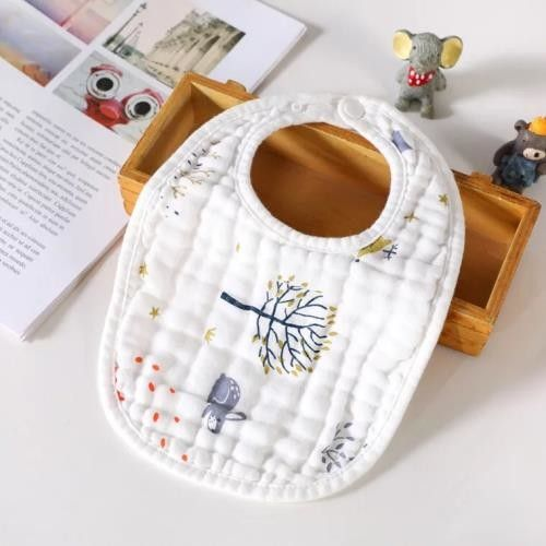 Various Color Muslin Baby Bibs Snap Closure Silk Screen Printing No Fading